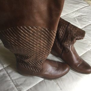 Brown Basketweave Tall Boots